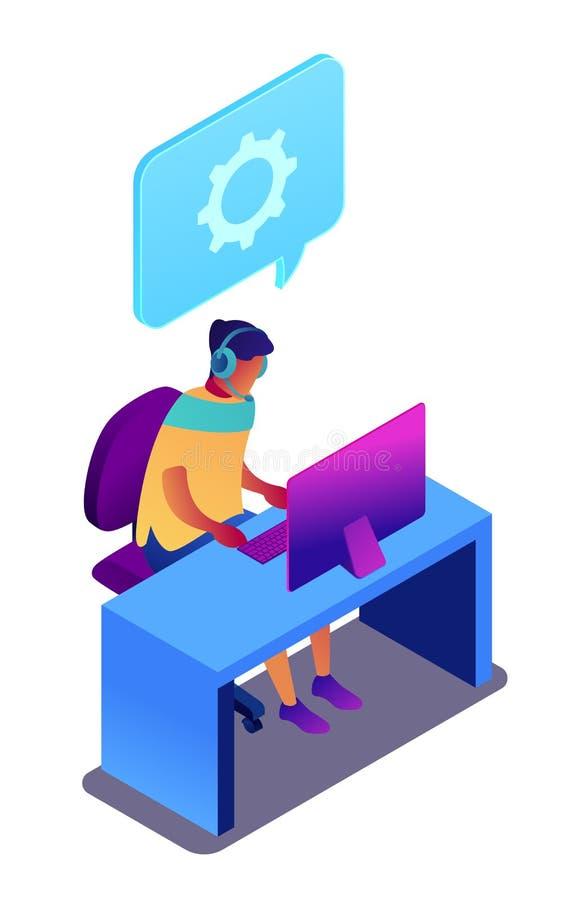 Operatör av teknisk service som arbetar på den isometriska illustrationen 3D för dator stock illustrationer