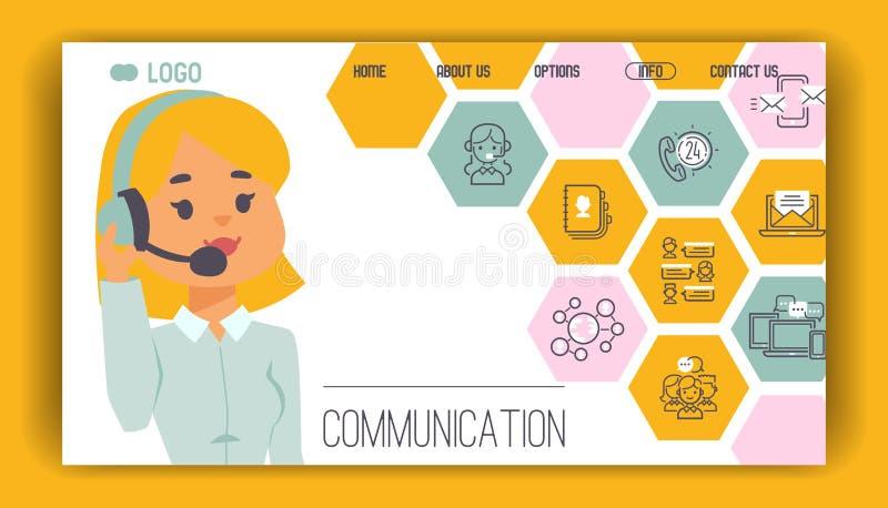 Operatör för folk för webbsida för vektor för modell för appellmitt i arbete för tecken för hörlurar med mikrofonmankvin stock illustrationer