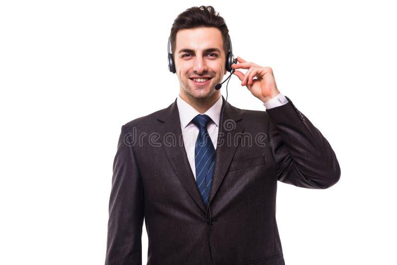 Operatör för kundservice med en hörlurar med mikrofon på vit arkivbilder