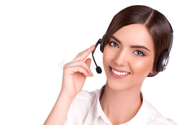 Operatör för telefon för service för appellmitt i den isolerade hörlurar med mikrofon arkivfoto