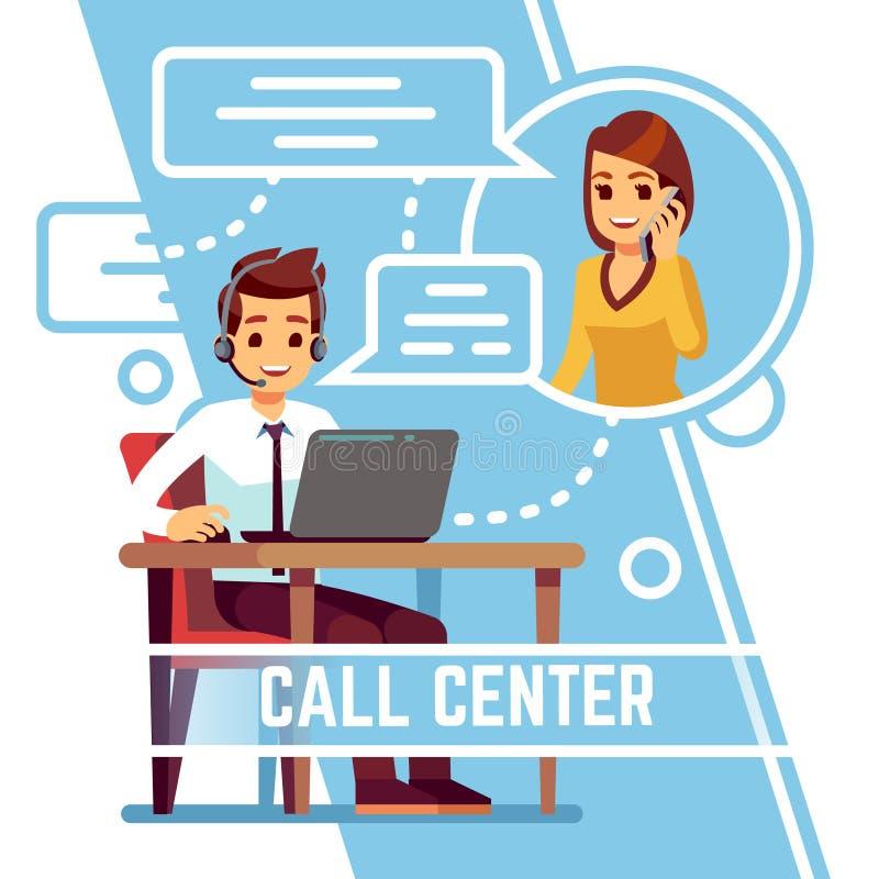 Operatörsman som talar med den lyckliga le klienten på telefonen Supporter i konsulterande kund för hörlurar med mikrofon Tecknad stock illustrationer