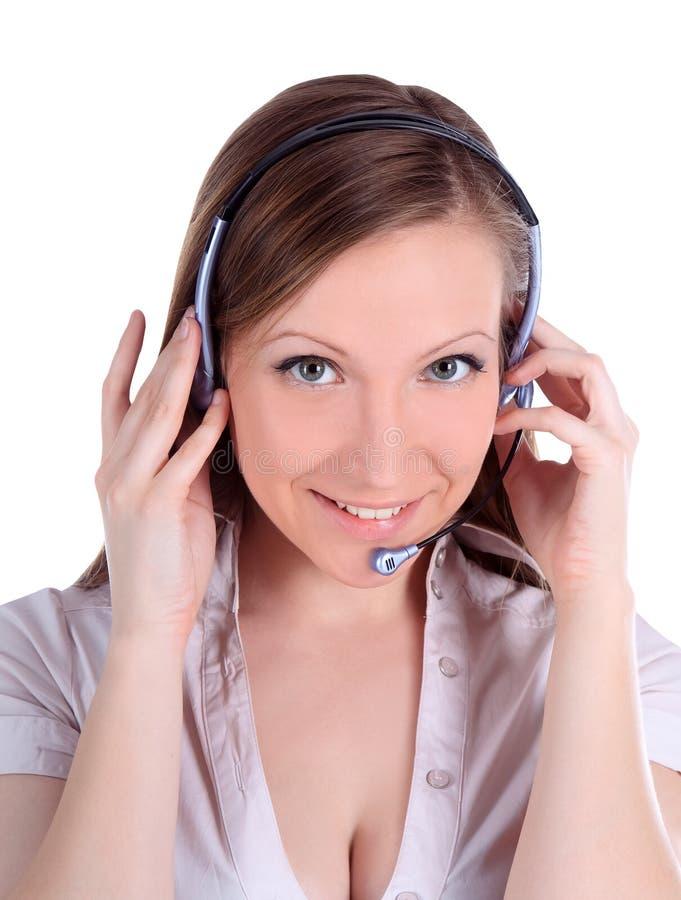 Operat alegre de sorriso do telefone do apoio ao cliente foto de stock royalty free