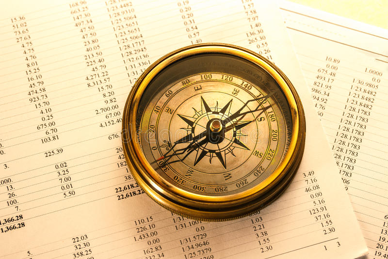 Operating budget and vintage compass royalty free stock image