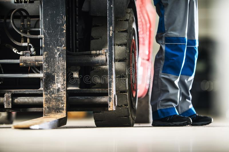 Operating Forklift Truck royalty free stock image