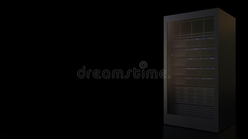 Operating modern server rack against black background. Information technology related 3D rendering stock illustration