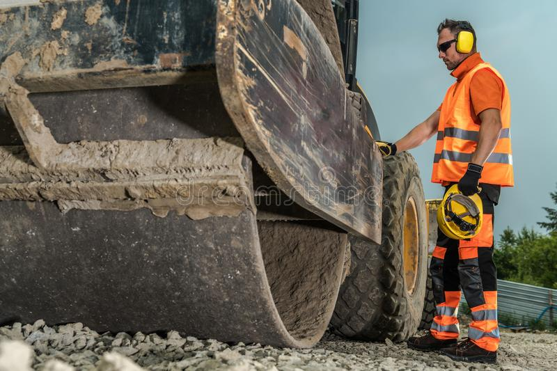 Operating Road Roller stock image