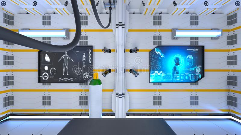 Operating room. 3D CG rendering of the operating room stock illustration