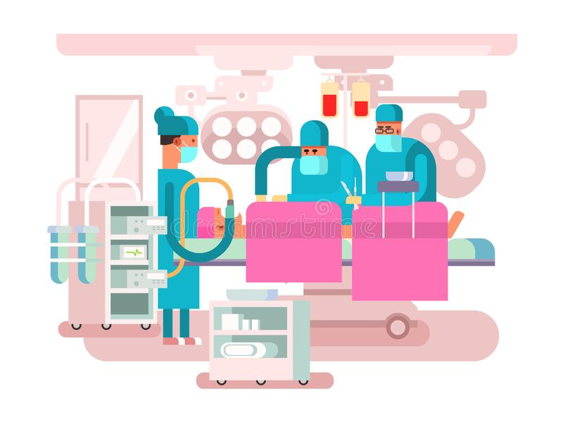 Operating room design. Operation surgery, medical and patient, hospital or clinic, illustration stock illustration