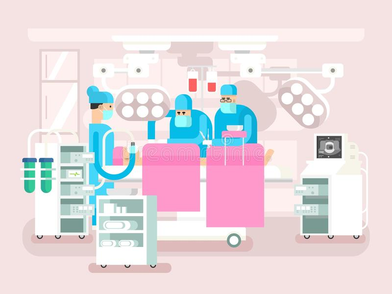 Operating room design. Operation surgery, medical and patient, hospital or clinic, vector illustration stock illustration