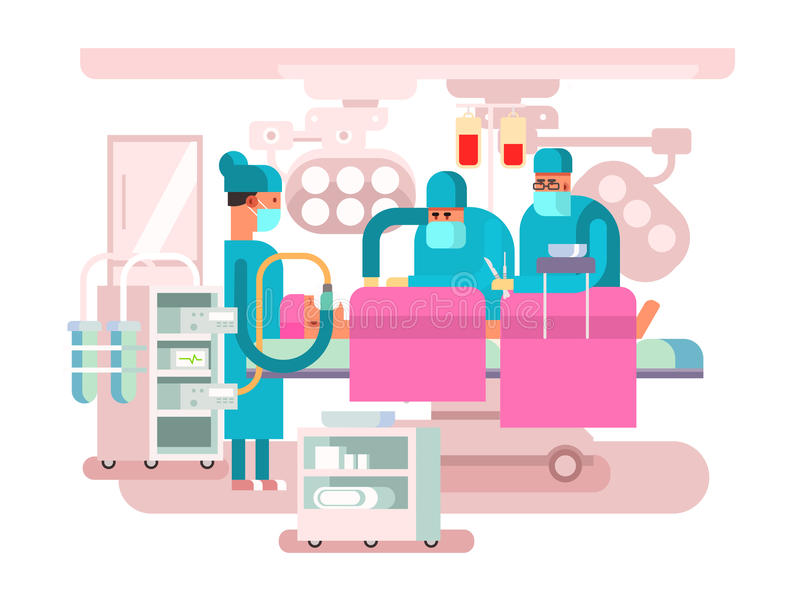 Operating room design. Operation surgery, medical and patient, hospital or clinic, vector illustration vector illustration