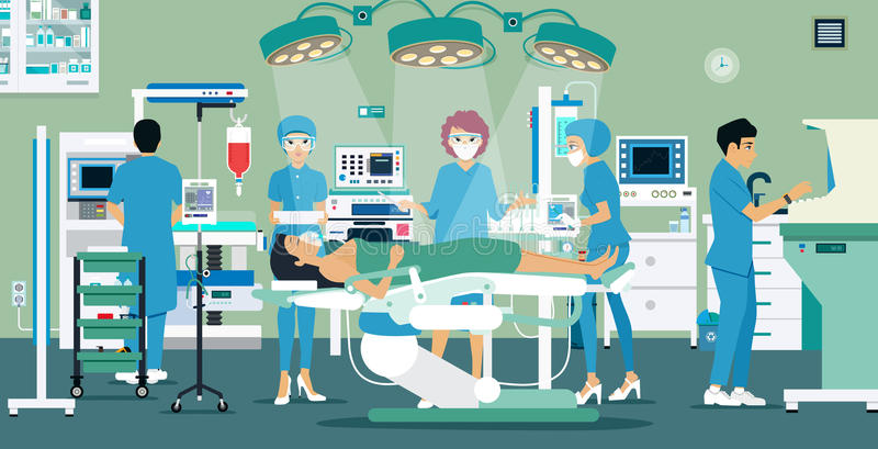Operating Room. Doctors and nurses were treating a patient in the operating room vector illustration
