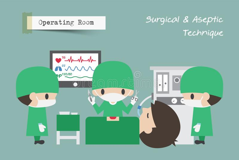 Operating Room OR . Surgeon , Assistant and Anaesthetist operate on patient . Vector.  vector illustration