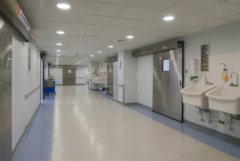 Operating rooms. Corridor operating rooms in modern hospital facilities royalty free stock photography