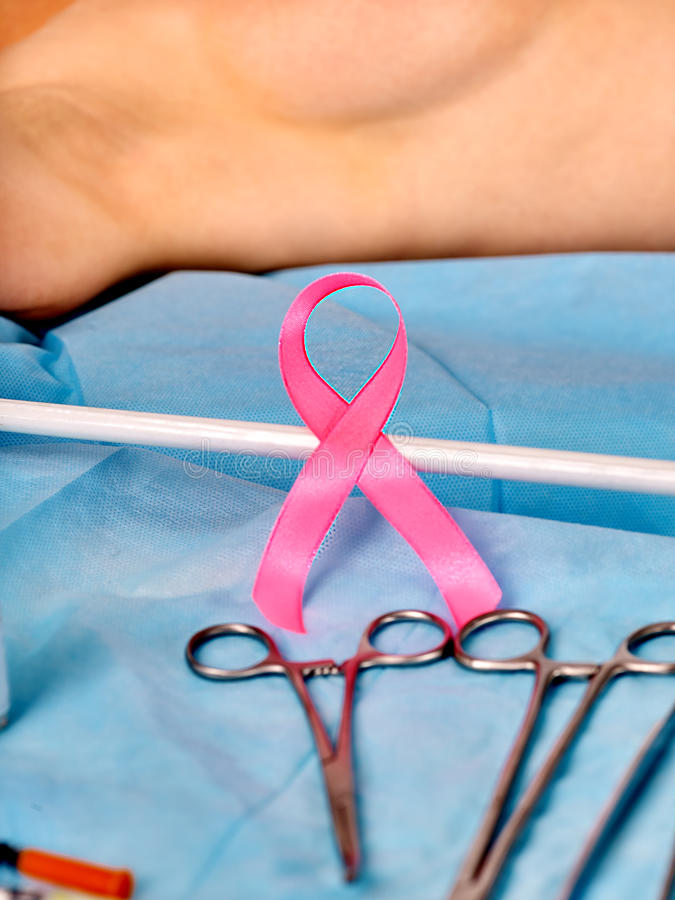 Operation Breast cancer. Preparation to breast cancer surgery. Pink ribbon .Social awareness symbol stock photo