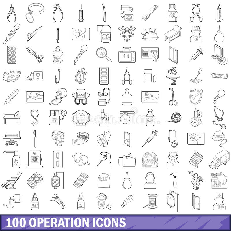 100 operation icons set, outline style. 100 operation icons set in outline style for any design vector illustration royalty free illustration