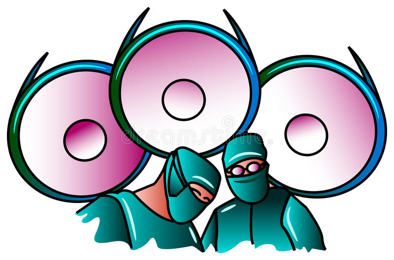 Operation. Illustrated isolated image of Surgeons team at operation vector illustration