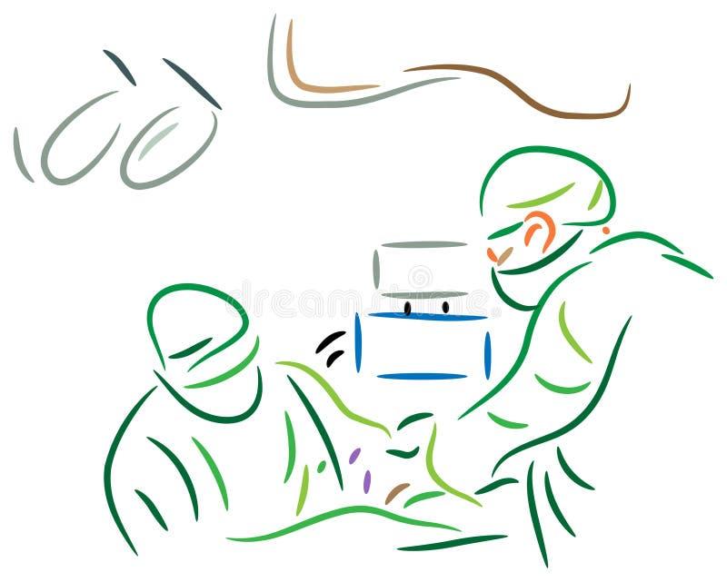 Operation. Illustrated isolated image of Surgeons team at operation royalty free illustration