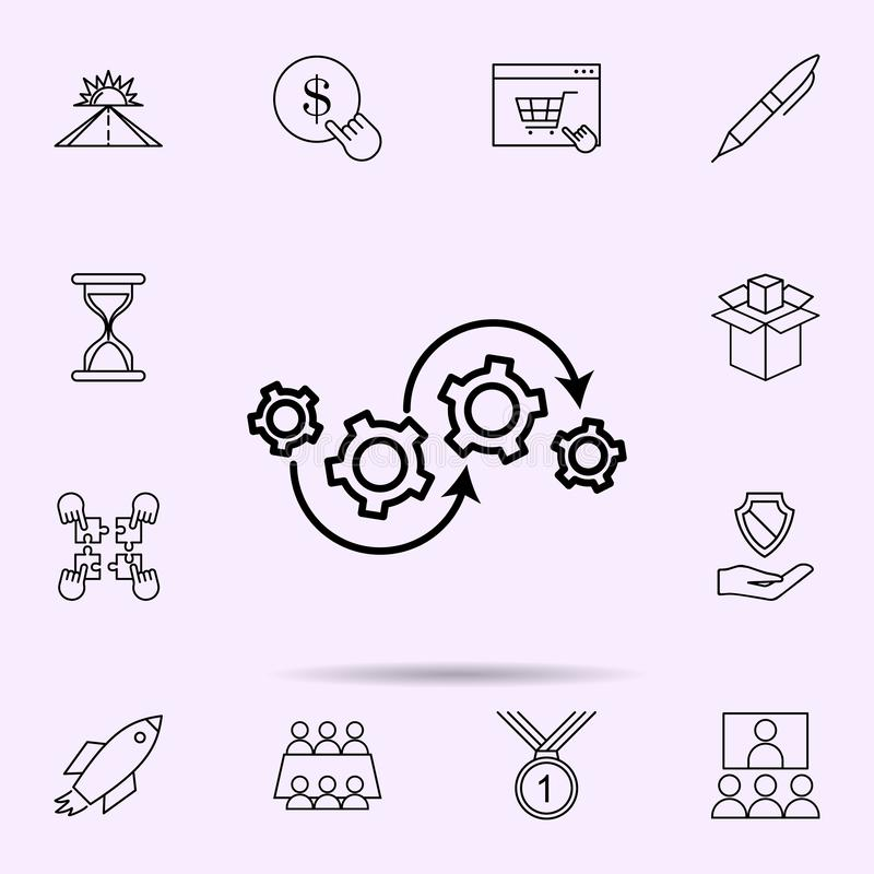 Operation process icon. Universal set of web mix for website design and development, app development. On color background stock illustration