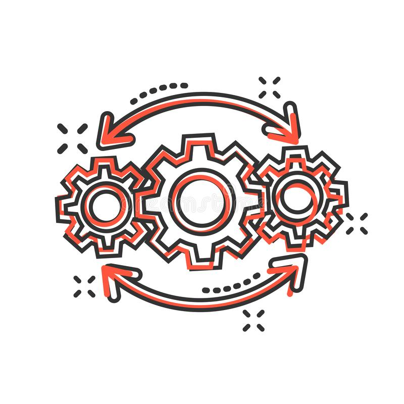 Operation project icon in comic style. Gear process vector cartoon illustration on white isolated background. Technology produce stock illustration