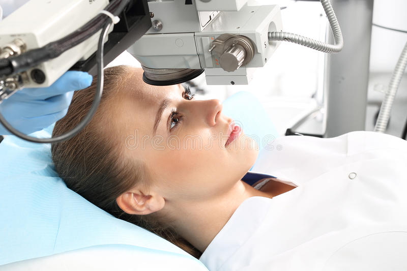 Operation of sight. A patient in the operating room during ophthalmic surgery royalty free stock photography