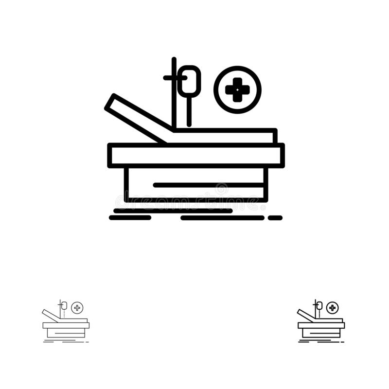 Operation, Theater, Medical, Hospital Bold and thin black line icon set royalty free illustration