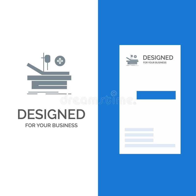 Operation, Theater, Medical, Hospital Grey Logo Design and Business Card Template vector illustration