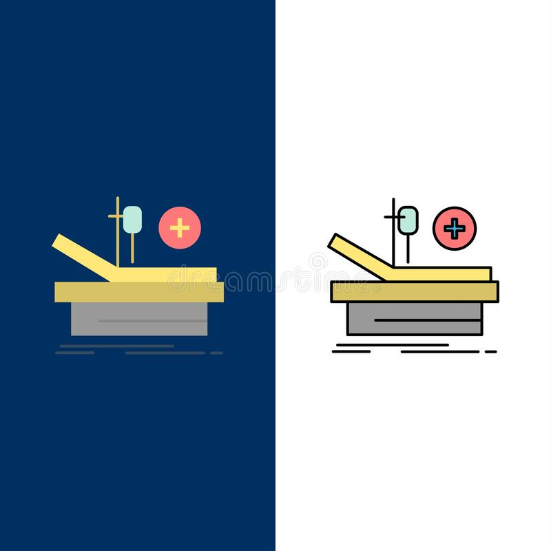 Operation, Theater, Medical, Hospital  Icons. Flat and Line Filled Icon Set Vector Blue Background royalty free illustration