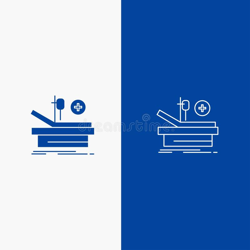Operation, Theater, Medical, Hospital Line and Glyph Solid icon Blue banner Line and Glyph Solid icon Blue banner vector illustration