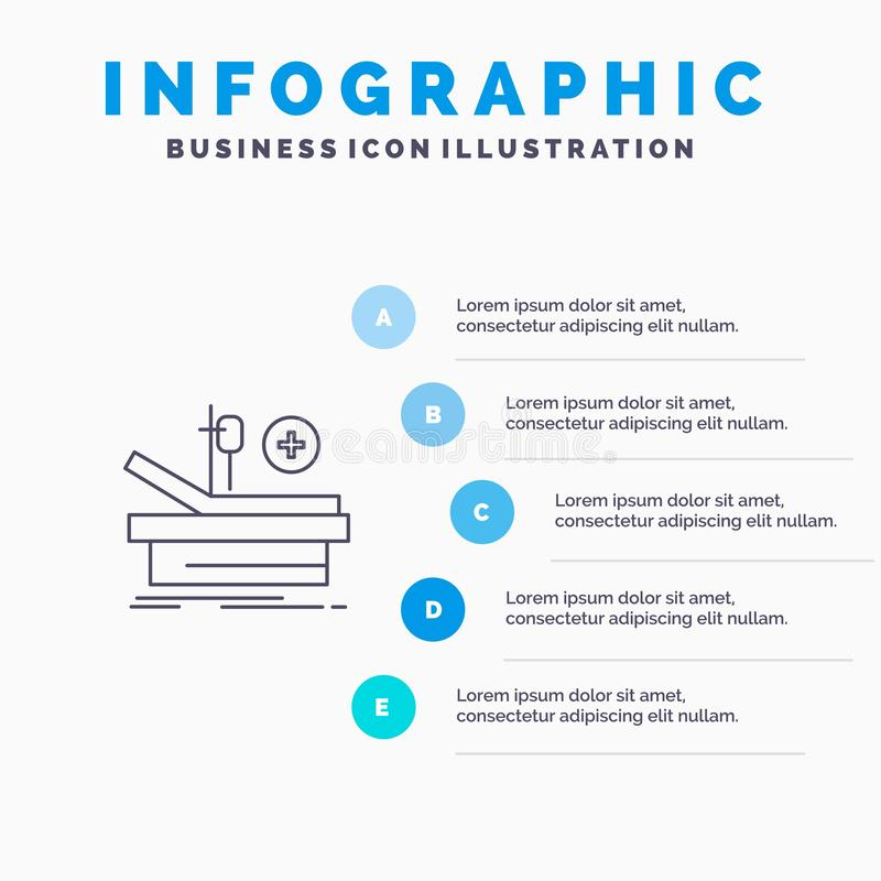 Operation, Theater, Medical, Hospital Line icon with 5 steps presentation infographics Background royalty free illustration
