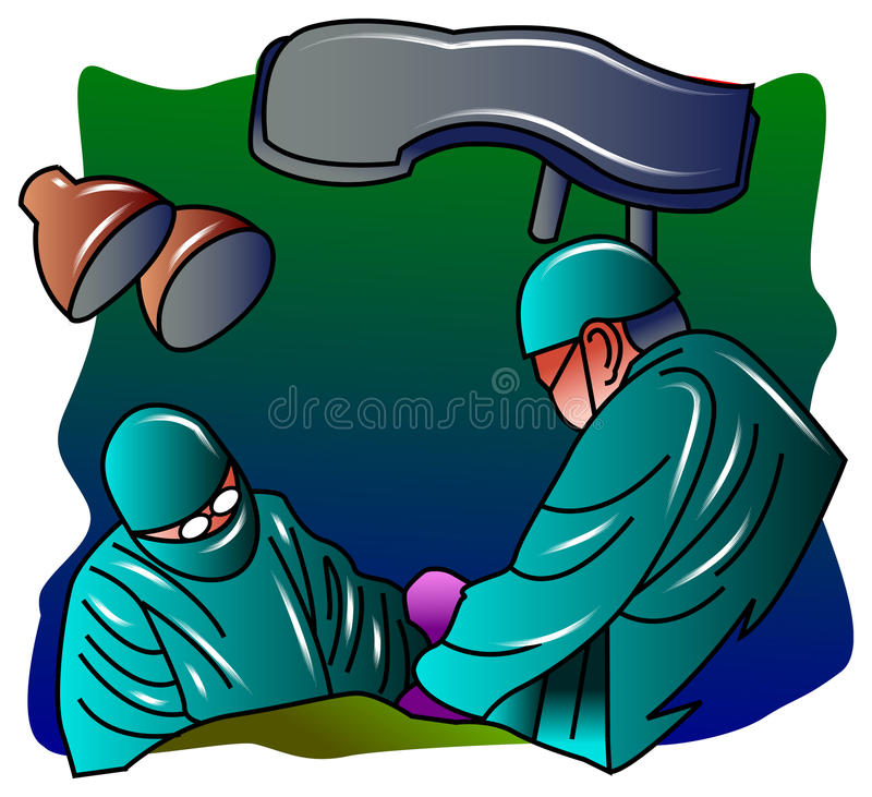 Operation theatre. Illustrated isolated image of Surgeons team at operation royalty free illustration
