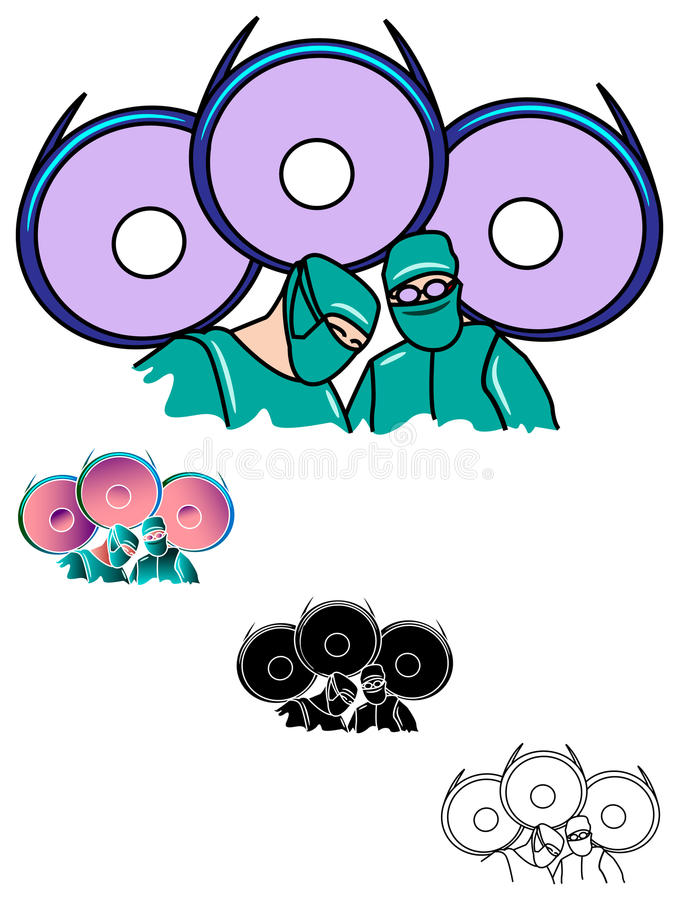 Operation theatre. Surgeons team at operation illustrated image royalty free illustration