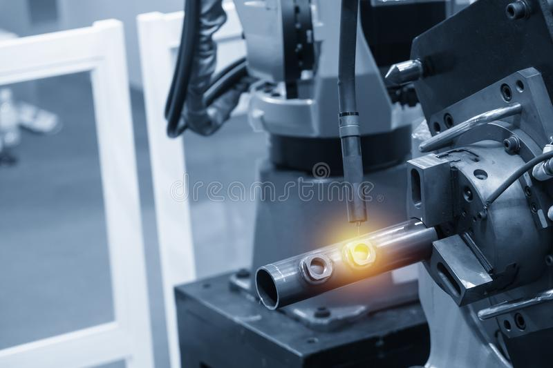The operation of welding robot machine . Industrial 4.0 concept for modern manufacturing process royalty free stock photos