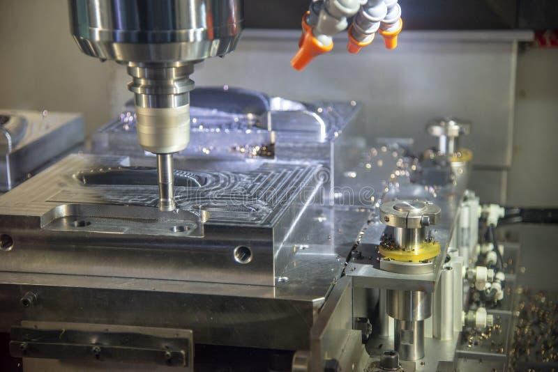 Operationen av klipp för den bearbeta med maskin mitten för CNC gjuter delar royaltyfri bild