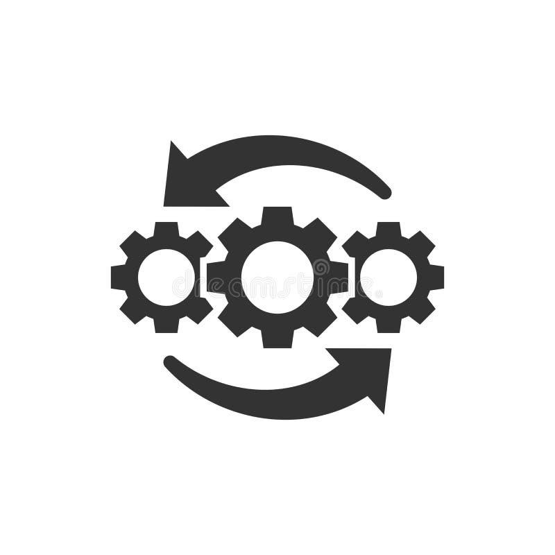 Operationprojektsymbol i plan stil Illustration för kugghjulprocessvektor på vit isolerad bakgrund Teknologijordbruksprodukteraff vektor illustrationer