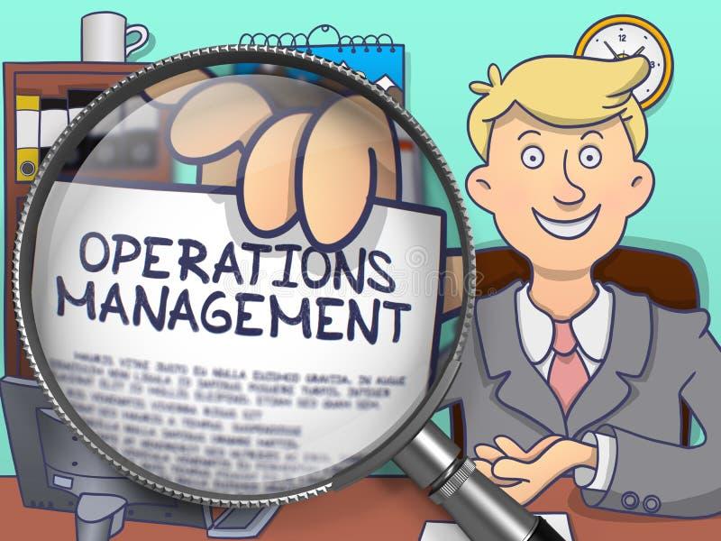 Operations-Management durch Linse Gekritzel-Konzept stock abbildung