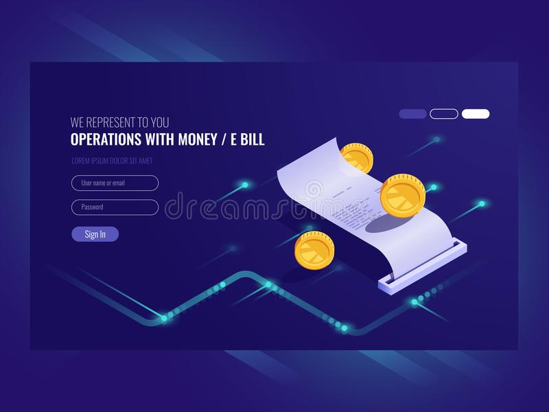 Operations with money, electronic bill, coin, chash transaction, payment online isometric vector vector illustration
