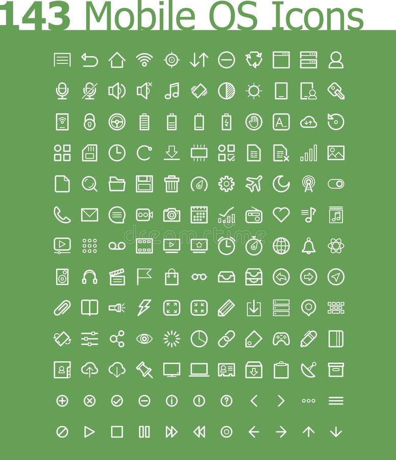 Operativsystemsymbolsuppsättning vektor illustrationer