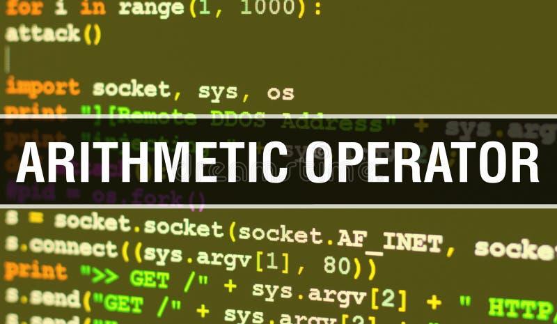 Operator arytmetyczny z tłem technologii cyfrowej kodu binarnego Abstrakcyjne tło z kodem programu i operatorem arytmetycznym zdjęcia stock