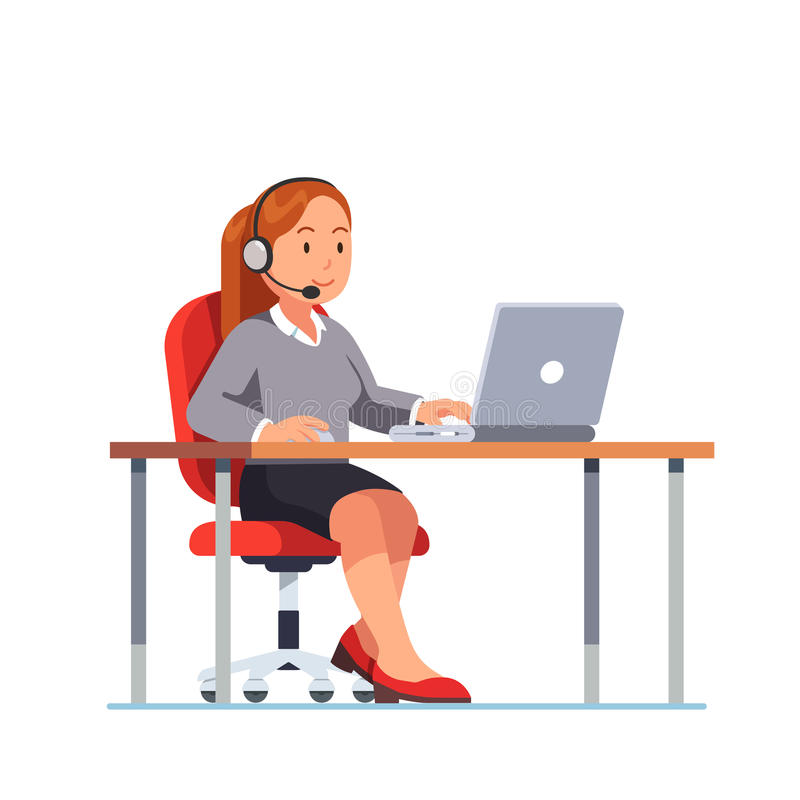 Operator of call center office working at her desk. Operator of call center office working in headphones with mic sitting at her desk with laptop computer vector illustration