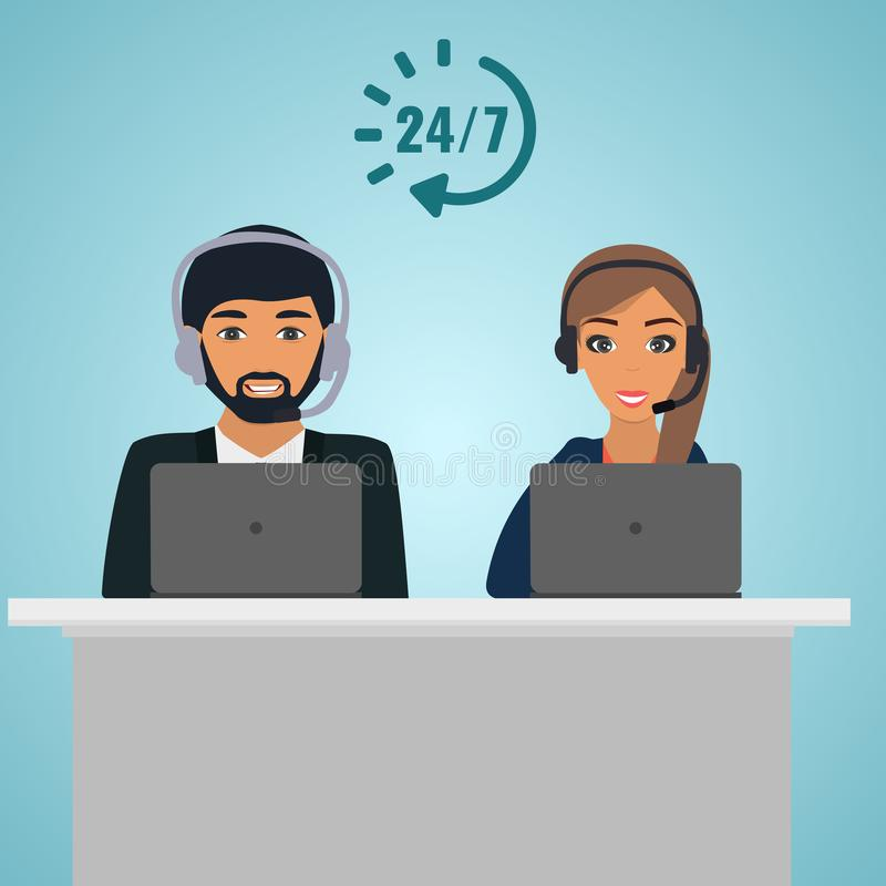 Operator consultants woman and man at the table with laptop. Call center service 24 hours. Conceptual of client services and comm stock illustration