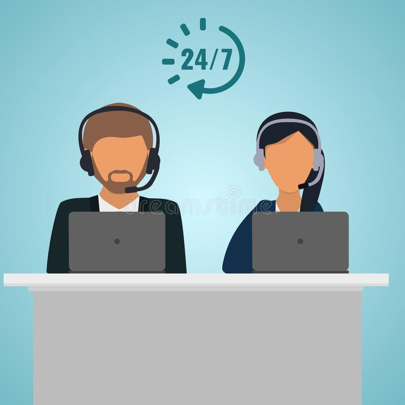 Operator consultants woman and man at the table with laptop. Call center service 24 hours. Conceptual of client services and comm. Male and female faces, call vector illustration