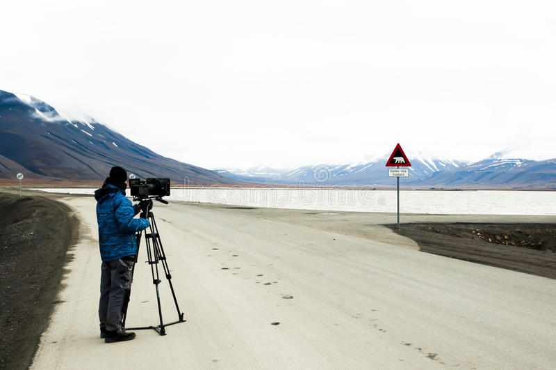 Operator filmowy Longyearbyen, Norwegia - obraz stock
