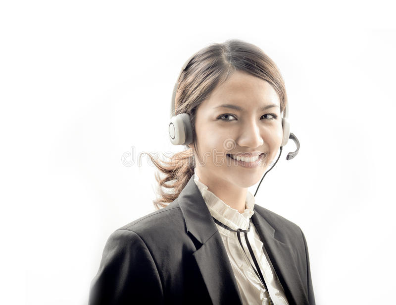 Operator girl isolated on white royalty free stock photo