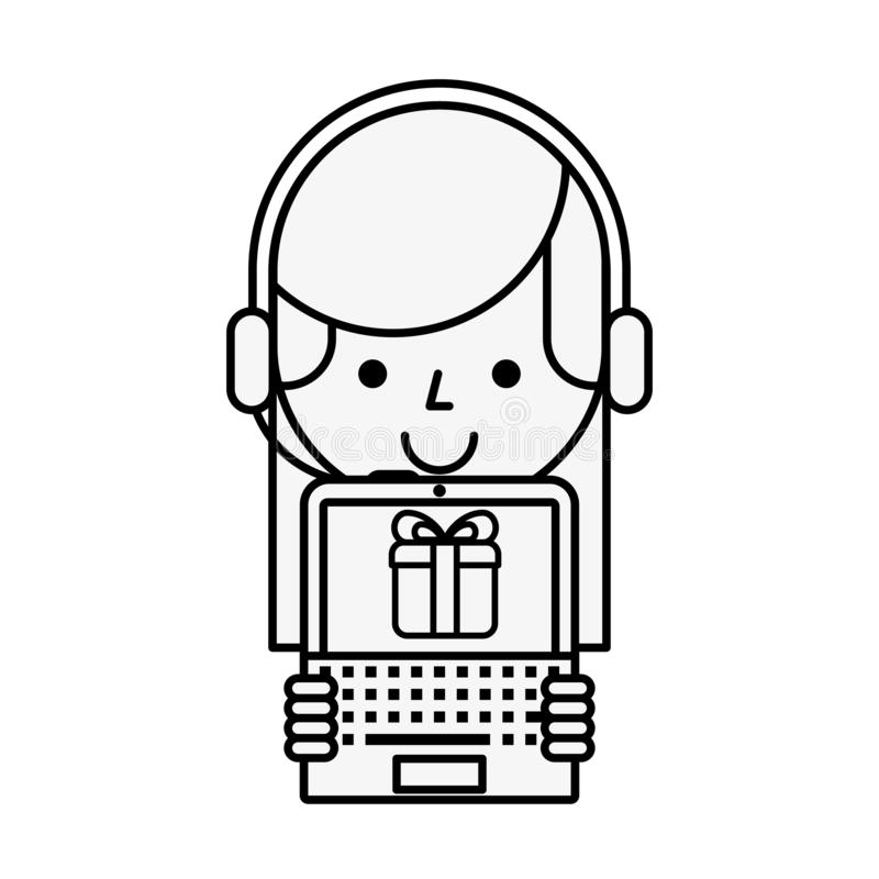 Operator girl with laptop delivery gift online shopping. Vector illustration outline vector illustration