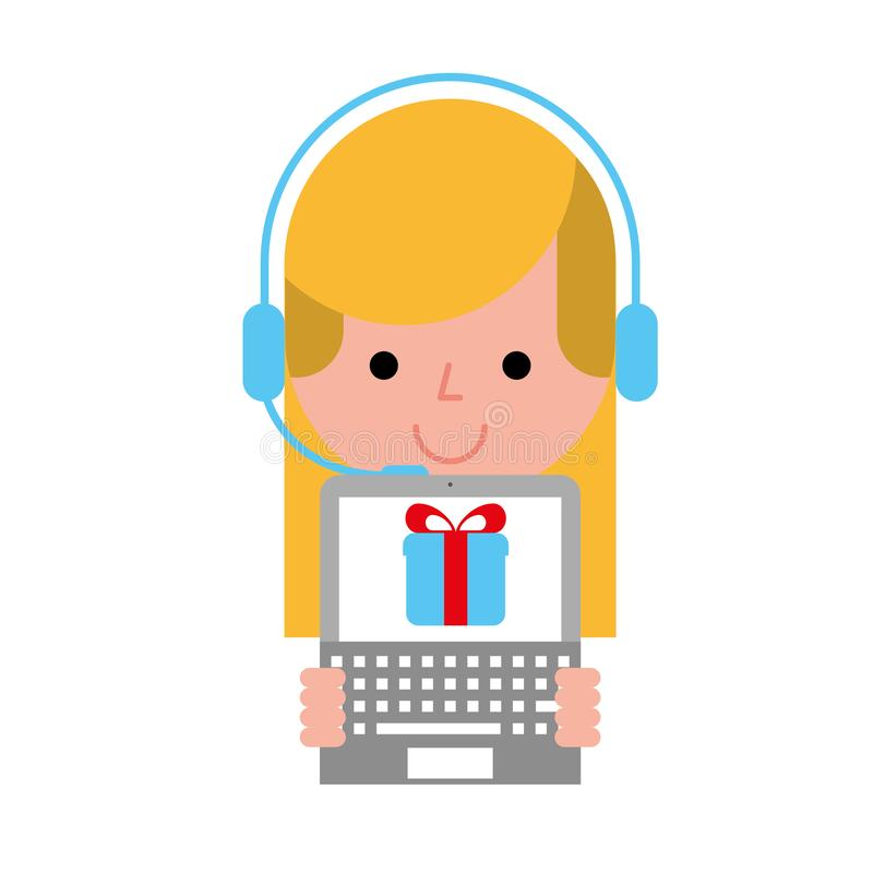 Operator girl with laptop delivery gift online shopping. Vector illustration stock illustration