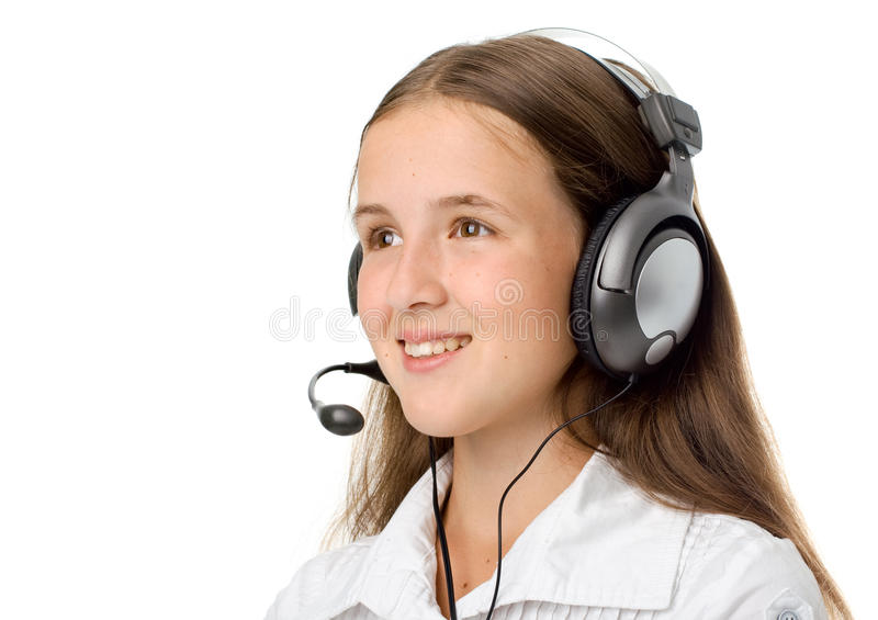 Download Operator in headset stock photo. Image of operator, brown - 14932602
