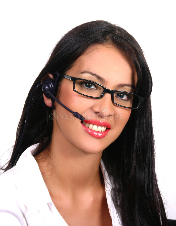 Operator with headset and glasses (Latin) royalty free stock photo