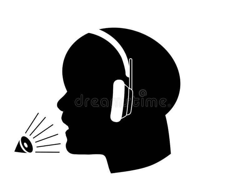 Operator in headset icon  on white background stock images