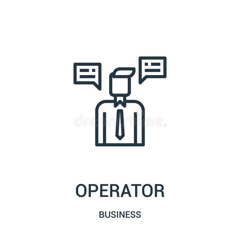 operator icon vector from business collection. Thin line operator outline icon vector illustration. Linear symbol for use on web stock illustration