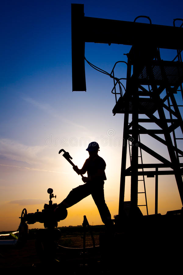 Operator in the oil and gas field royalty free stock images